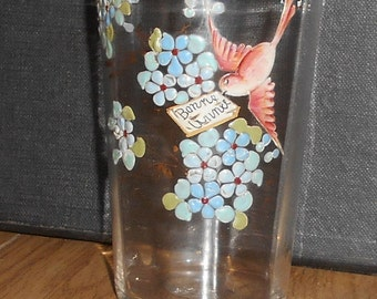 Antique French enamel Hand painted Glass tumbler flowers & bird