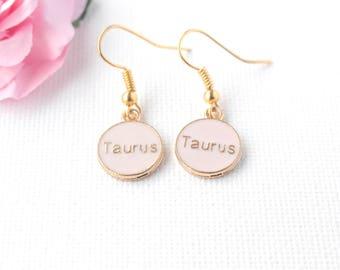 Taurus earrings, Taurus jewellery, Taurus birthday, Taurus gift, zodiac earrings, constellation earrings, gold earrings, gold drop earrings