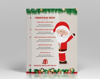 Christmas  Menu Template | Holiday Party food menu | Photoshop & Elements Template | Instant Download