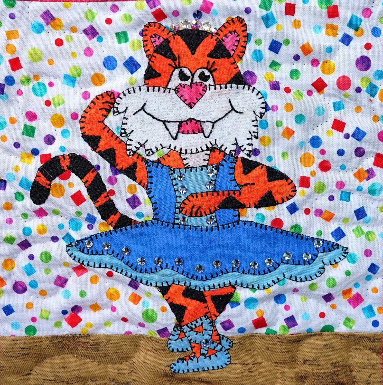 Tiger Ballerina Pdf Applique Quilt Block Pattern Whimsical
