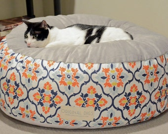 Luxury Pet Bed for Dog or Cat, Floral Pet Pouf, Round Pet Bed Furniture, Washable Pouf Cover, Dog Bed, Cat Bed, Small Medium Large Poufs