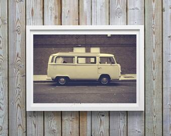 VW Bus, vw Bus Decor, Retro Print, Vintage Print, vw van, vw bus print, vw bus art, Wall Art, Vintage English Decor, Photography, Wall Decor