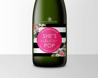 She's About To Pop Mini Champagne Label, Baby Shower, About To Pop, Shes About to Pop, Baby Shower Favors, Baby Shower Labels, Stickers