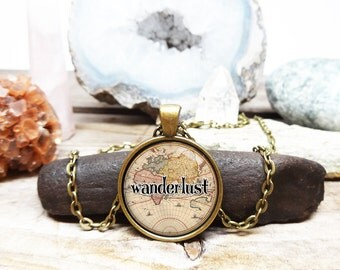 wanderlust necklace Map Necklace traveller necklace gypsy jewelry map jewelry vintage map necklace world traveller gift atlas necklace