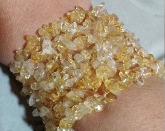Genuine, All Natural Citrine Chip Bead Stretch Bracelets