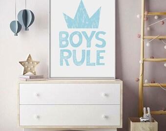 Nursery Prints, Nursery Wall Art, Nursery Decor, Baby Prints, Baby Wall Art, Baby Boy Prints, Boys Rule Prints, Baby Shower Prints,