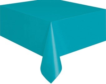 Caribbean Teal Plastic Table Cover