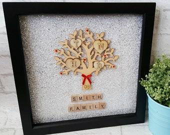 Scrabble Wall Art - Scrabble Family Tree - Scrabble Word Gift - Scrabble Picture - Personalised Gift Frame - Glitter Frame