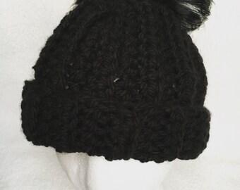 Black Double Pom Pom Beanie Faux Fur, Black Beanie, Winter Hat, Winter Accessories, Black Hat, Pom Pom Hat, Two Pom Pom Hat, Pom Beanie
