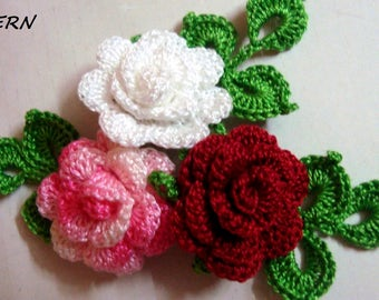CROCHET ROSE PATTERN, Crochet flower pattern, Crochet mini rose with leaves pattern, Crochet rose applique pattern, Digital- pdf pattern