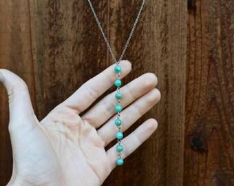 SALE // Green Drop Necklace, Lariat Necklace, Y Necklace