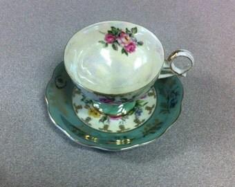 L M Royal Halsey Fine China Teacup/Saucer - Lustreware Rose Swirl Circa 1960's