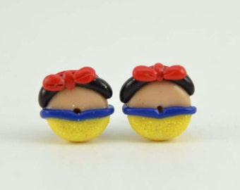 Princess Snow White Inspired Donut Stud earrings Princess polymer clay earrings-VVsGrotto