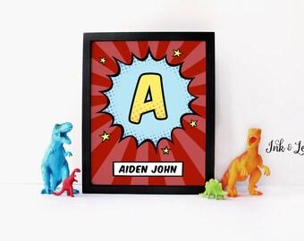 Custom Superhero Nursery Decor - Red Comic Book Print - Personalized Comic Art - Nursery Decor - Digital Download - Digital Printable - 8x10