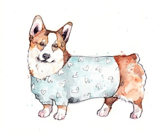 Little Illustration of Corgi with Sweater | Watercolor | Drawing | Animal | Marie-Eve Arpin | Dog | Art | Cute | Deco | Corgi | Print