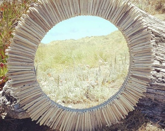 "MADE TO ORDET 30"" Round Driftwood Mirror,Reclaimed Wood Mirror, Rustic Mirror"