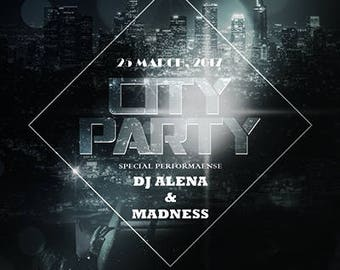 City Party Flyer Template , Party Flyer,club,,Event Flyer,music flyer,Invitation flyer,photoshop template,dj's - Instant Download