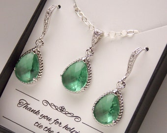 Green Earrings and Necklace Set, Aqua Chrysolite, Wedding Jewelry, Sterling Silver, Cubic Zirconia, Bridesmaid Jewelry Set, Bridesmaid Gifts