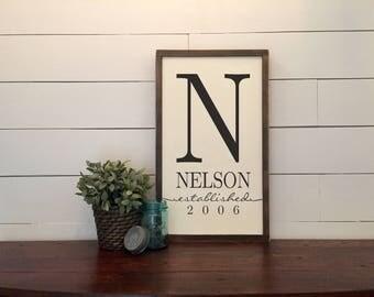 Custom Family Established Monogram Rustic Wood Sign ~ Wedding Gift