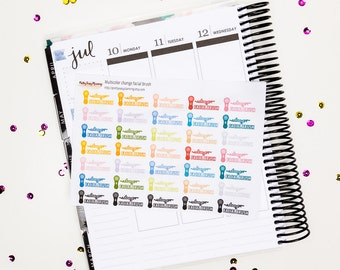 Change Facial Brush / Erin Condren vertical / Happy Planner / multicolor stickers / functional stickers / planner stickers / kit add-on