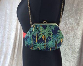 Alice Palm Trees  frame bag fabric small Frame handbag purse makeup bag handmade in England
