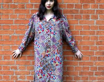 1980's Vintage Shirt Dress Vintage 80's Shirt Dress Retro Dress Large 80s Art Deco Dress Maternity wear  Women's Dresses Vintage Clothing