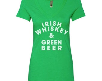 Irish Whiskey & Beer - St Patrick's Day Shirt - St paddys day shirt - St Pattys day shirt - Irish Shirt - Green Shirt - Green Beer - Clover