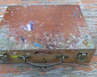 Vintage Spanish Wooden Artists Travel Paint Box/ Case - Metal Insert - Oil Paint Spattered