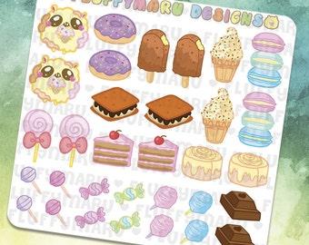 Sweets Set || Planner Stickers, Cute Stickers for Erin Condren (ECLP), Filofax, Kikki K, Etc. || DS21