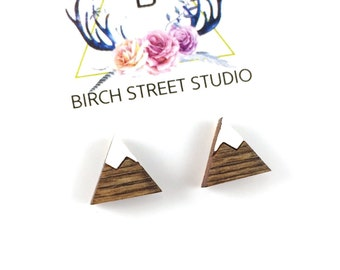Mountain Earrings, Mountain Jewellery, Tiny Mountain Studs, Laser Cut Wooden Earrings, Mountain Jewelry, Mountain Stud Earrings Wood