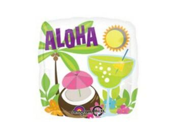 """18"""" ALOHA balloon. Aloha balloon. Tropical party. Aloha party. Luau decor. Aloha decor. Tropical balloon. Luau party. Summer party. Paradise"""