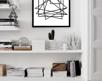 Geometric Print, Minimalist Poster, Large Abstract Art Print, Black White Wall Art, Scandinavian art, Modern Art print, Geometric art Lines