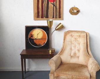 Vintage 1960s Chair, velvet Tufted  Rocker, Gold Brown Retro Velour Rocking Chair, Lounge Chair, Retro Furniture