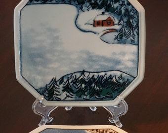 Set of 2 Finnair Decorative Plates/Autumn Ruska/Winter Kaamos/Arabia Finland/ LImited Edition