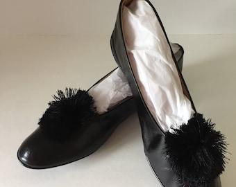 Vintage Slippers--Vintage Daniel Green Black Leather Slippers--Slippers with Pom Poms--Vintage Size 5 House Slippers--Retro Women's Slippers