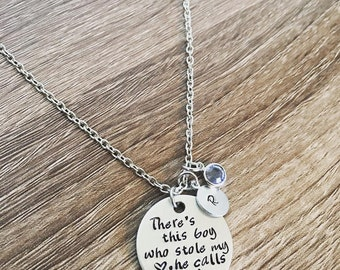 Mother and son necklace / There's this boy who stole my heart, he calls me Mom / Personalized hand stamped birthstone necklace / Christmas