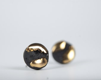 mens earrings, black and gold earrings, round earrings, black porcelain and gold earrings, ceramic jewelry, porcelain earrings