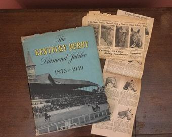 The Kentucky Derby Diamond Jubilee, vintage Derby book, vintage Kentucky book, Derby history book, 1940s Derby book, coffee table book,