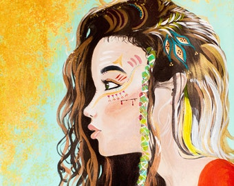 Warrior Princess Teal and Gold War Paint Print of Original Acrylic on Canvas--Tribal Collection--Digital Download