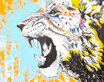 Roaring Lion Colorful War Paint  Print from Ink and Acrylic Original
