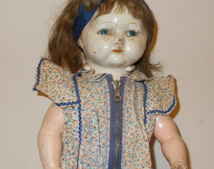 "16"" Vintage 30s 40s Creepy Spooky Halloween Decor Composition Jointed Doll Brown Human Hair Wig Blue Tin Eyes Calico Floral Dress"