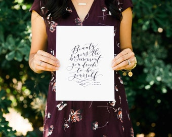 Beauty Begins The Moment You Decide to Be Yourself Handlettered Modern Calligraphy Canvas Print Coco Chanel Quote Canvas Art Wall Art