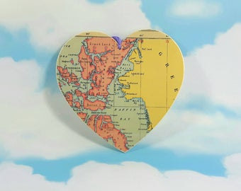 Canada & Greenland Map Heart, Decoupage Heart, Wanderlust Gift, Wall Decor, Wooden Heart, Wall Hanging Heart