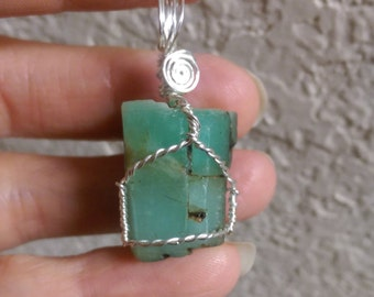 Natural rough Emerald sterling silver wire wrapped pendant 47 carats