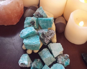 Amazonite Raw Stones~ Stone of Truth~ Beautiful~Alter~Collection