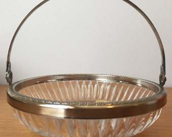 Lead Crystal Glass Bowl with Handle, Clear Glass Candy Dish with Metal Handle, Decorative Bowl, Made in England by Bleikristall