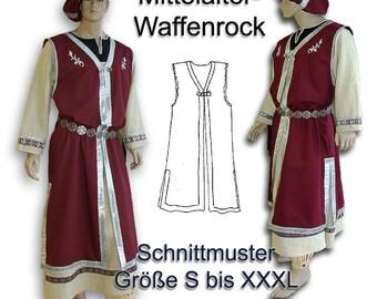 Schnittmuster Mittelalter-Tunika Waffenrock Barett sewing pattern S-XXXL