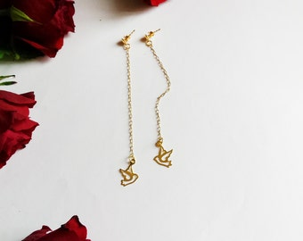 Long gold plated chain earrings with Bird Dove Silver 925 charms Gold plated earplugs Fashion