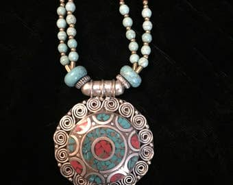 Exquisite Beaded Medallion Pendant Necklace