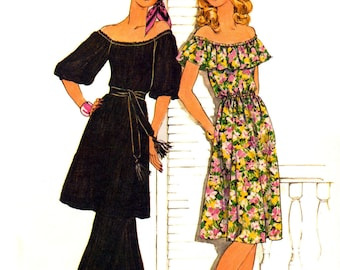 70s Simplicity 7483 Off the Shoulder Dress with Neck Ruffle or Raglan Sleeved Tunic with Belt, Uncut, Factory Folded Sewing Pattern Size 14